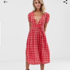 ASOS by Influence Check Tie-Waist Midi Dress
